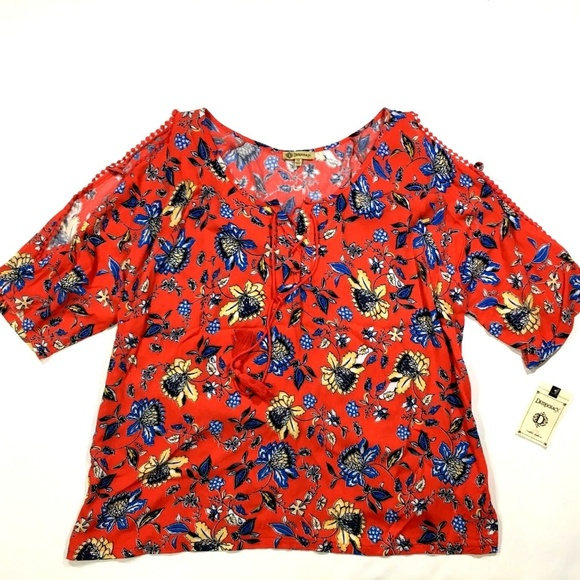 4936af3d72d Democracy Cold Shoulder Floral Print Top Blouse